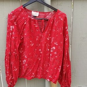 NWOT Red W/ Cream Floral Airy Boho Blouse L
